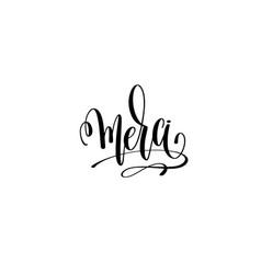 mersi - thank you in english hand lettering modern vector image