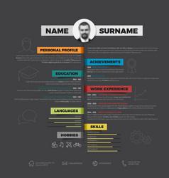 minimalist cv resume template vector image