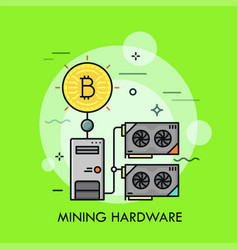 Mining hardware thin line concept vector