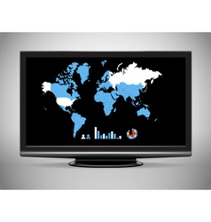 Modern TV with Earth map and statistics vector