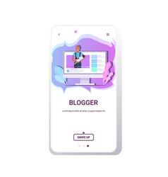 mother blogger holding bafamily vlog blogging vector image