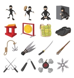 Ninja cartoon icons set vector image
