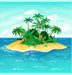 Ocean island cartoon palm trees sea uninhabited vector