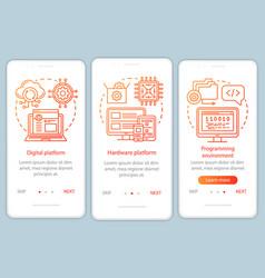 Programming environment onboarding mobile app vector