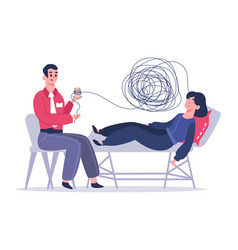 psychotherapy session woman with psychologist vector image