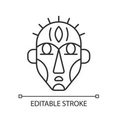 Ritual masks linear icon vector