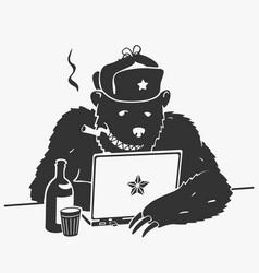 Russian hacker character cartoon vector