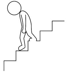 Sad businessman walking downstairs vector image