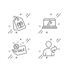 Sale laptop repair and coupons icons set refer vector