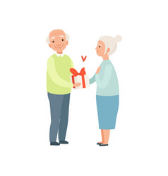 senior man giving woman a present elderly vector image