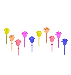 Set of Plastic Hand Clap Toys on White Background vector image