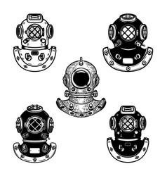set of vintage diver helmets design element for vector image