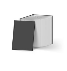 Stack of black books on white mockup template vector