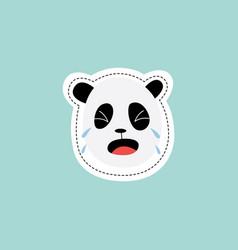 Sticker design crying sad pandas face flat vector