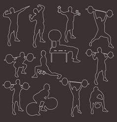 stroke silhouttes athletes vector image