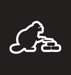 Style black and white icon beaver builder vector