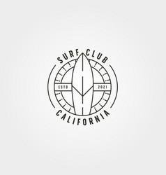 surfboard surfing line logo minimal design vector image