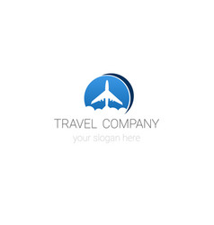 travel company logo template tour agency emblem vector image