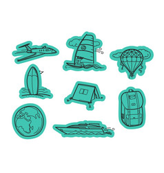 travel elements stickers stickers set isolated on vector image