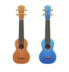 Two realistic ukuleles isolated on white vector