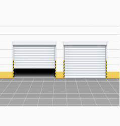 Warehouse or garage roller shutter door factory vector
