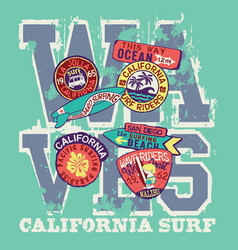 West coast california surf riders company vector