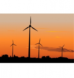 Wind generators in sunrise vector