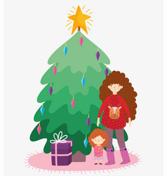 woman with sweater and little girl tree gift merry vector image