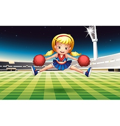 A stadium with an energetic cheerdancer vector image