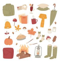autumn season icons symbol vector image