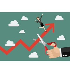 Big hand cutting rival growing graph vector image