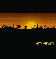 Halloween with grave and pumpkin landscape vector