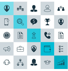hr icons set collection of call briefcase vector image vector image