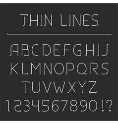 Line Alphabet and Numbers vector image vector image