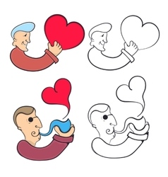Man with heart and a man with a smoking pipe vector