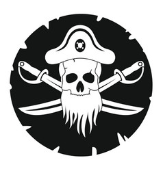 pirate in black simlpe style vector image