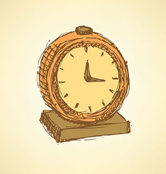 Sketch business clock in vintage style vector image vector image