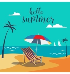 Summer poster tropical beach with palm trees vector