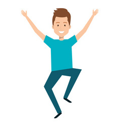young man celebrating with hands up vector image