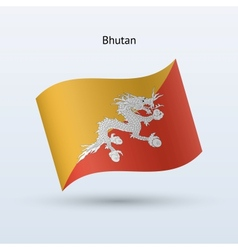 Bhutan flag waving form vector image