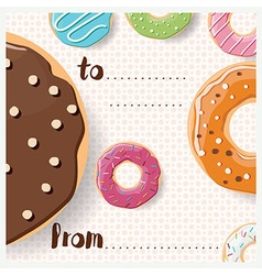 Birthday card design with colorful tasty donuts vector image vector image
