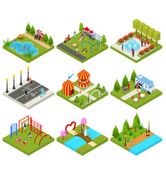 city public park or square objects set icons 3d vector image