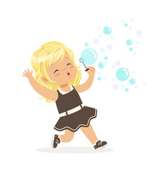 cute blonde little girl blowing bubbles vector image
