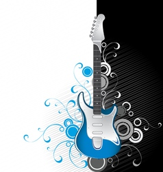 guitar on a black-and-white background vector image