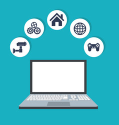 internet things laptop web digital wireless system vector image