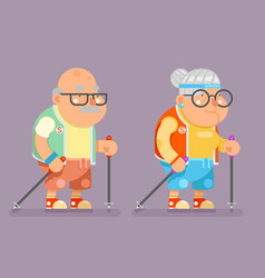 sports healthy grandfather granny active lifestyle vector image