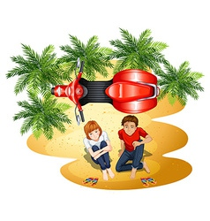 A topview of the park with a couple and a vehicle vector image vector image