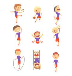 cute happy boys doing sports set activity kids vector image vector image