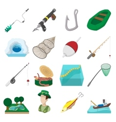 Fishing cartoon icons set vector image