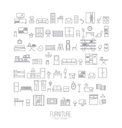 Furniture flat icons grey vector image